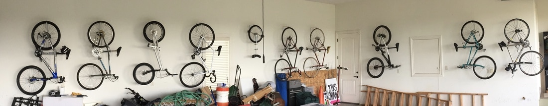 bikes hanging in garage