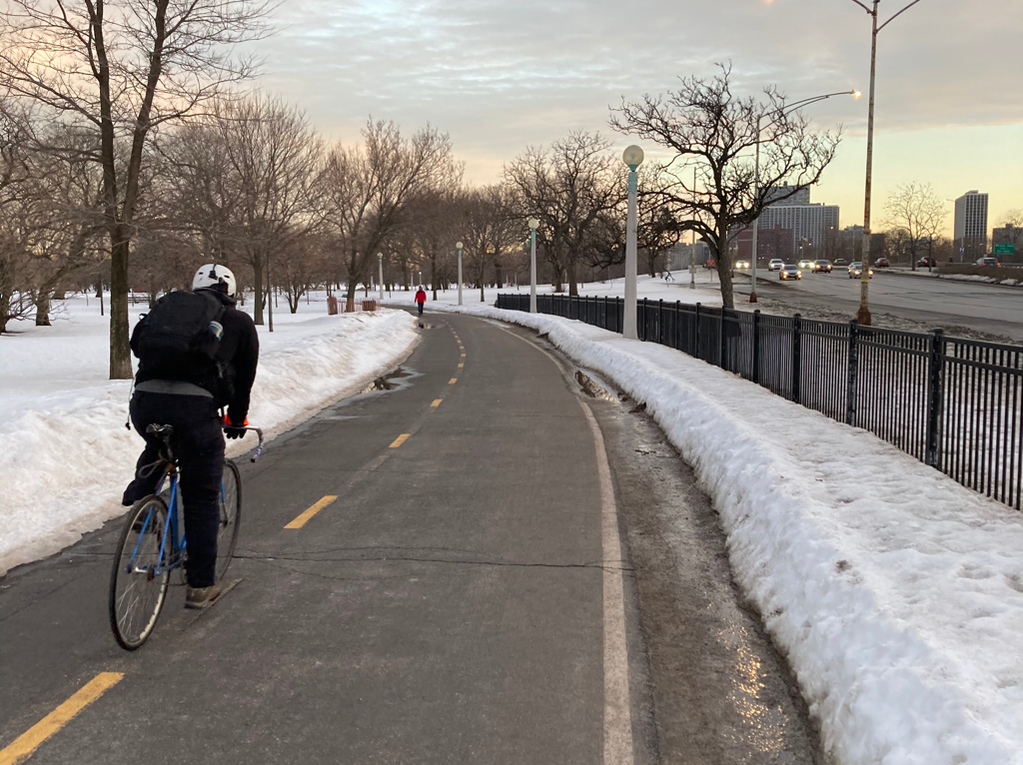 Biking in winter in Chicago